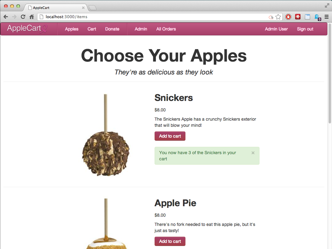 Apple selection page