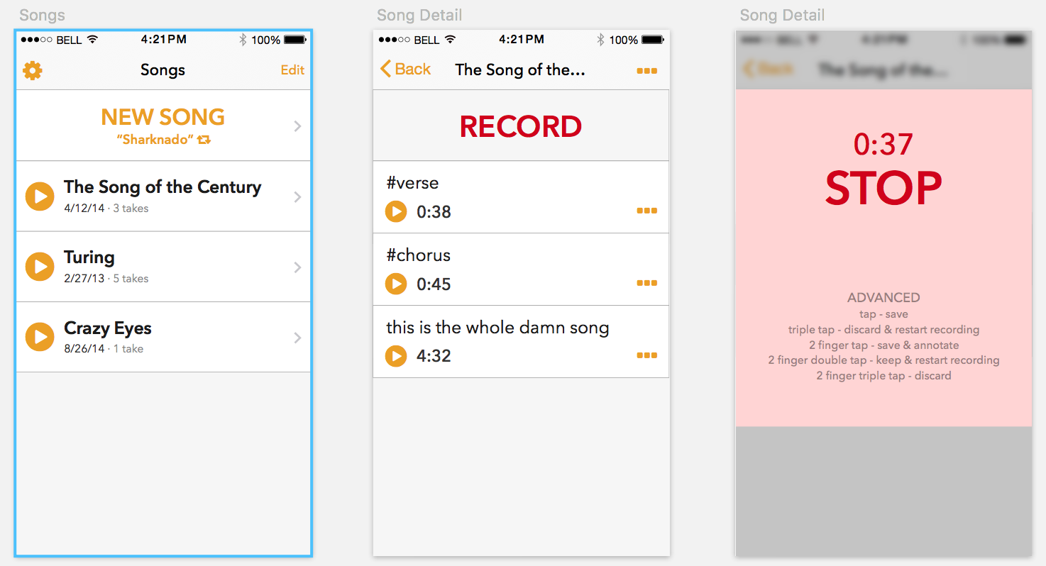 Some rough Sketch mockups of an app for songwriteres